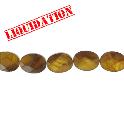 Semi-precious faceted beads, 20x15mm, oval, gold river shell, 16 inch strand