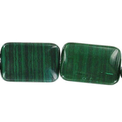 Semi-precious beads, 20x28mm, rectangle, new malachite, 16 inch strand