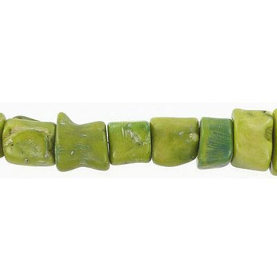Semi-precious beads, 15-25mm, rough cylinder, green coral, 16 inch strand