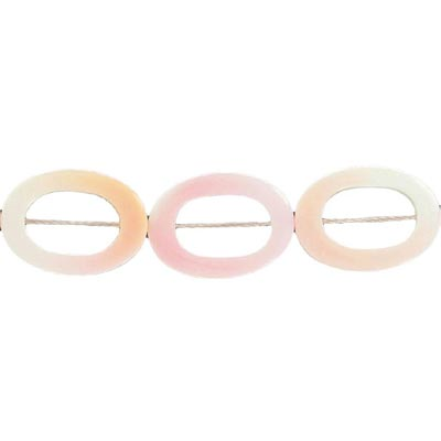 Shell beads, hollow twisted bead, 22mm, pink shell, 16 inch strand