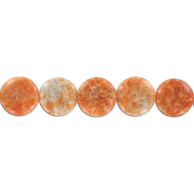 Semi-precious beads, 25mm disc, Brazilian orange calcite, 16 inch strand
