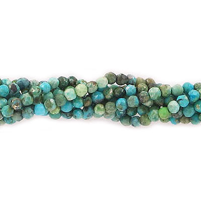 Semi-precious faceted beads, 2mm, Chinese turquoise, approx. hole size 0.50mm, 16 inch strand