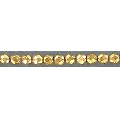 Semi-precious faceted beads, 2mm, gold hematite, 16 inch strand