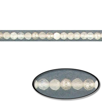 Semi-precious faceted beads, 2mm, moonstone, genuine, 16 inch strand