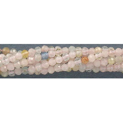Semi-precious faceted beads, 2mm, morganite, approx. hole size 0.50mm, 16 inch strand