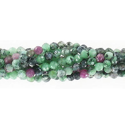Semi-precious faceted beads, 2mm, ruby in zoisite, approx. hole size 0.50mm, 16 inch strand