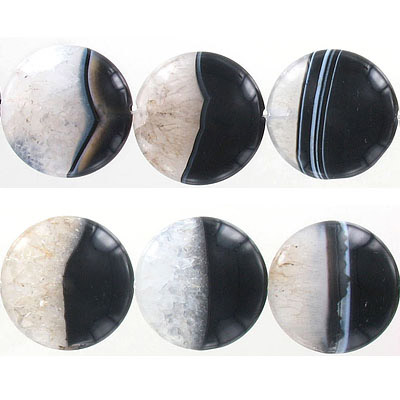 Semi-precious beads, 30mm, disk, black agate with druzy, approx. hole size 1.50mm, 16 inch strand