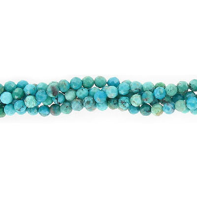 Semi-precious faceted beads, 3mm, Chinese turquoise, approx hole size 0.60mm, 16 inch strand
