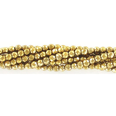 Semi-precious faceted beads, 3mm, gold hematite, approx. hole size 0.50mm, 16 inch strand
