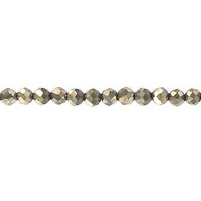 Semi-precious faceted beads, 3mm, pyrite, 16 inch strand
