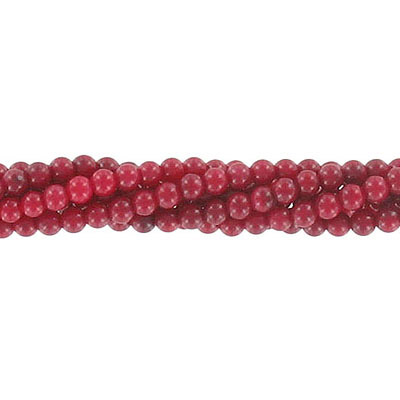 Semi-precious round beads, 3mm, red coral, approx. hole size 0.60mm, 16 inch strand