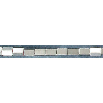 Semi-precious beads, 3x5mm, hole size approx. 0.60mm, rectangle, silver hematite, 16 inch strand