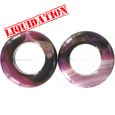 Semi-precious beads, 40mm, hollow disk, purple agate with white lines, 16 inch strand
