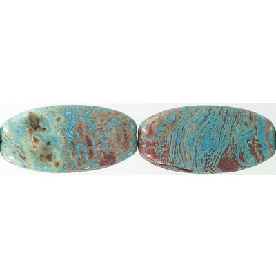 Semi-precious beads, 40x20mm, oval, turquoise agate, 16 inch strand