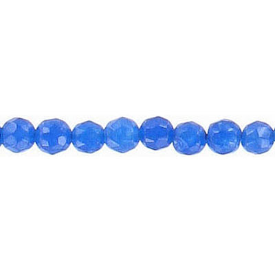 Semi-precious faceted beads, 4mm, blue agate, 16 inch strand