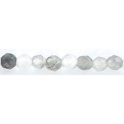 Semi-precious faceted beads, 4mm, cloudy grey agate, hole size approx. 0.80mm-1mm, 16 inch strand