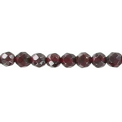 Semi-precious faceted beads, 4mm, garnet, 16 inch strand