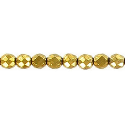 Semi-precious faceted beads, 4mm, gold hematite, 16 inch strand