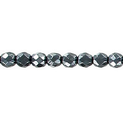 Semi-precious faceted beads, 4mm, hematite, 16 inch strand