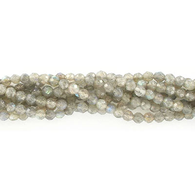 Semi-precious faceted beads, 4mm, labradorite, approx. hole size 0.80-1mm, 16 inch strand