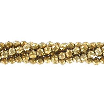 Semi-precious faceted beads, 4mm, pyrite, approx. hole size 0.80-1mm, 16 inch strand