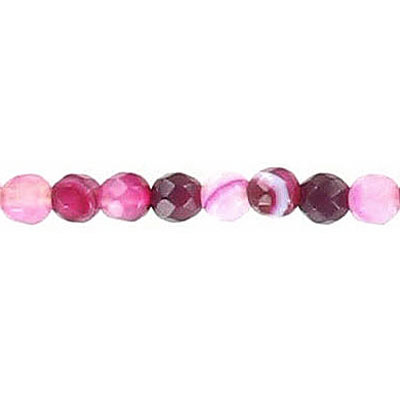 Semi-precious faceted beads, 4mm, pink agate with white lines, 16 inch strand