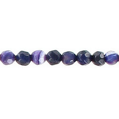 Semi-precious faceted beads, 4mm, purple agate with white, 16 inch strand