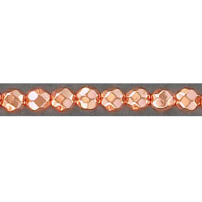 Semi-precious faceted beads, 4mm, rose gold hematite, 16 inch strand