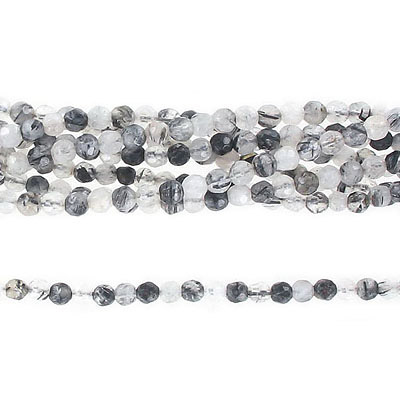 Semi-precious faceted beads, 4mm, rutilated quartz, approx. hole size 0.80-1mm, 16 inch strand