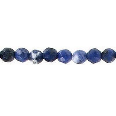 Semi-precious faceted beads, 4mm, sodalite, 16 inch strand