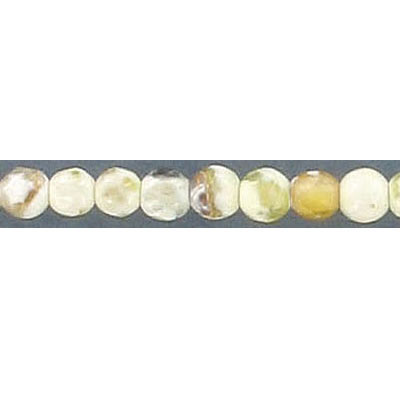 Semi-precious faceted beads, 4mm, white-yellow fire agate, 16 inch strand