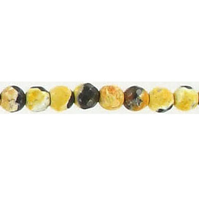 Semi-precious faceted beads, 4mm, yellow fire agate, 16 inch strand