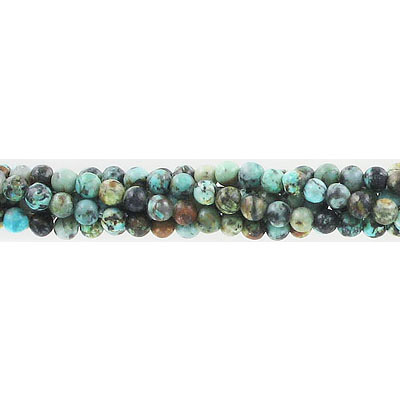 Semi-precious round beads, 4mm, African turquoise, approx. hole size 0.80-1mm, 16 inch strand