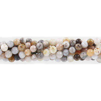 Semi-precious round beads, 4mm, bamboo agate, approx. hole size 0.80-1mm, 16 inch strand