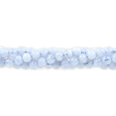 Semi-precious round beads, 16 strand, blue lace agate, 4mm