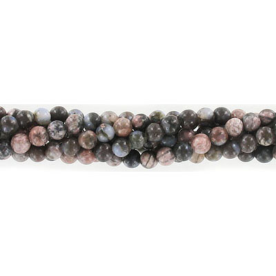 Semi-precious round beads, 4mm, boulder opal, approx. hole size 0.80-1mm, 16 inch strand