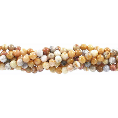 Semi-precious round beads, 4mm crazy lace agate, approx. hole size 0.80-1mm, 16 inch strand