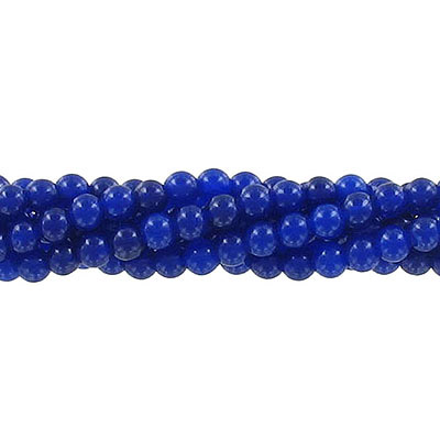 Semi-precious round beads, 4mm, dark blue jade (candy), approx. hole size 0.80-1mm, 16 inch strand