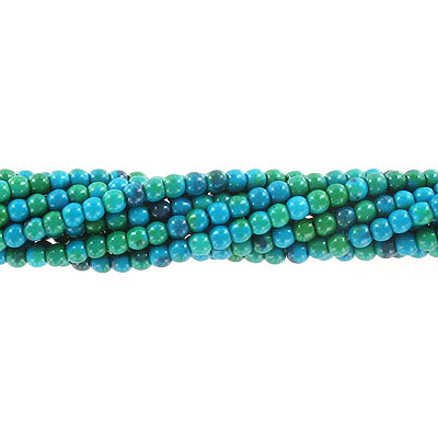 Semi-precious round beads, 4mm, chrysocolla, dyed, approx. hole size 0.80-1mm, 16 inch strand