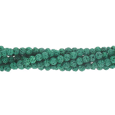 Semi-precious round beads, 4mm, green lava, approx.hole size 0.80-1mm, 16 inch strand