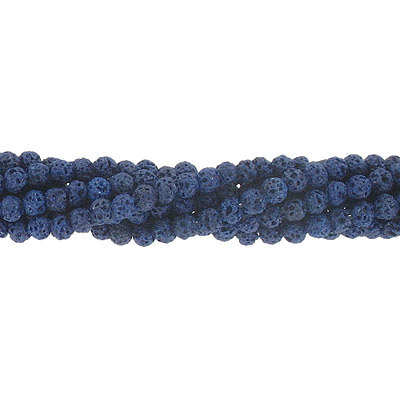 Semi-precious round beads, 4mm, lapis lava, approx.hole size 0.80-1mm, 16 inch strand