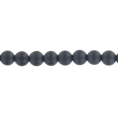 Semi-precious round beads, 16 strand, matt black onyx, 4mm