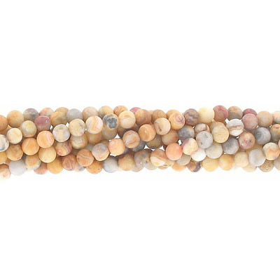 Semi-precious round beads, 4mm, matte crazy lace agate, approx. hole size 0.80-1mm, 16 inch strand