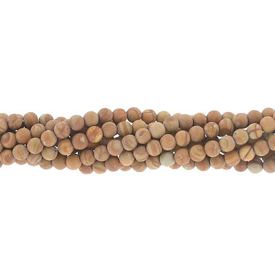 Semi-precious round beads, 4mm, matte gold lace agate, approx. hole size 0.80-1mm, 16 inch strand