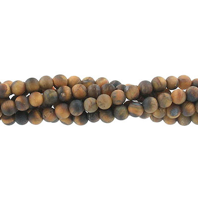 Semi-precious round beads, 4mm, matte tiger's eye, approx. hole size 0.80-1mm, 16 inch strand