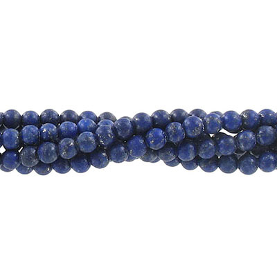 Semi-precious round beads, 4mm, lapis lazuli, genuine, matte, approx. hole size 0.60mm, 16 inch strand