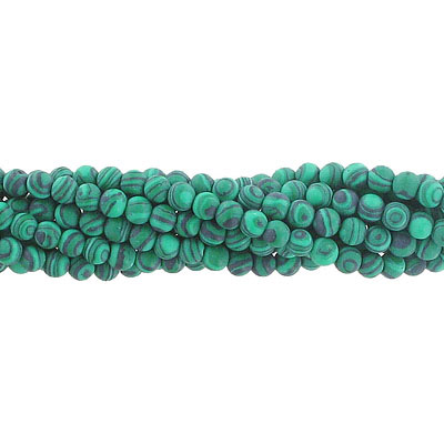 Semi-precious round beads, 4mm, matte new malachite, synthetic, approx. hole size 0.80-1mm, 16 inch strand