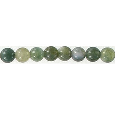 Semi-precious round beads, 4mm, moss agate, 16 inch strand