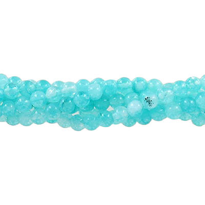 Semi-precious round beads, 4mm, mint green jade (candy), approx. hole size 0.80-1mm, 16 inch strand