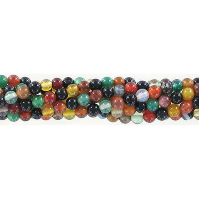 Semi-precious round beads, 4mm, multi-color agate, approx. hole size 0.80-1mm, 16 inch strand